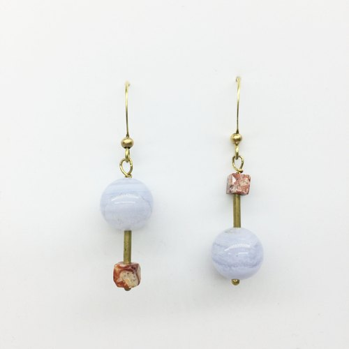 Laurin Groceries Travelin-Rotation - hand made brass natural stone earrings - blue onyx / marbling ear hook l ear needle l ear clip