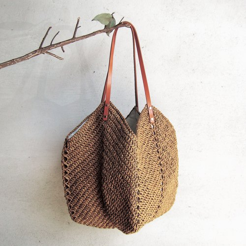 Bring home a full-size bag with a full-size woven fabric//dark brown//