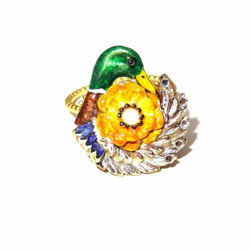 Chiching Chess designs handmade jewellery jewelry 珐琅 series 珐琅 green duck 拥 flowers ring pre-order