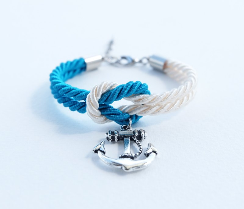 Ocean blue/Cream knot rope bracelet with anchor charm
