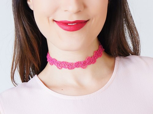 PINK Clothing Gift Tattoo Choker Beaded Choker Bridal Necklace Gift For Her Gothic Choker Retro Jewelry Gift/ BEDDA