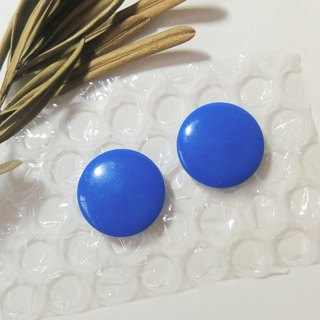 Retro big blue round earrings / clip / pin type