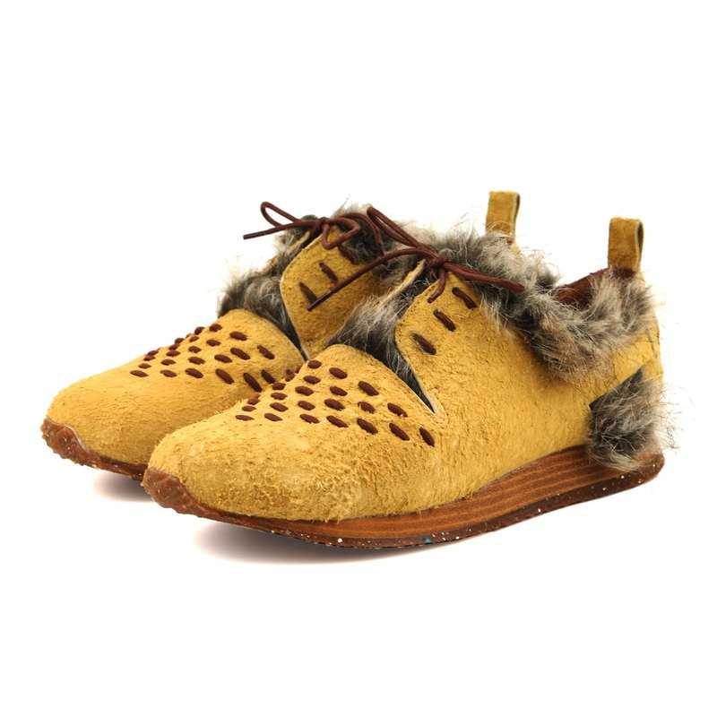 Leather sneakers Wallace M1165 Desert Yellow shearling