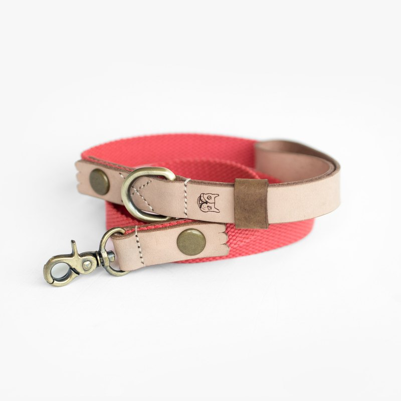 Natural Leather Salmon Orange Leash (M) | For Dogs
