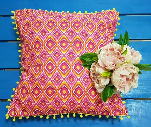 Scandinavian style pink and yellow geometric flower pattern, yellow little hair ball pillow / pillow