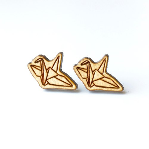 Plain wood earrings-Paper Crane