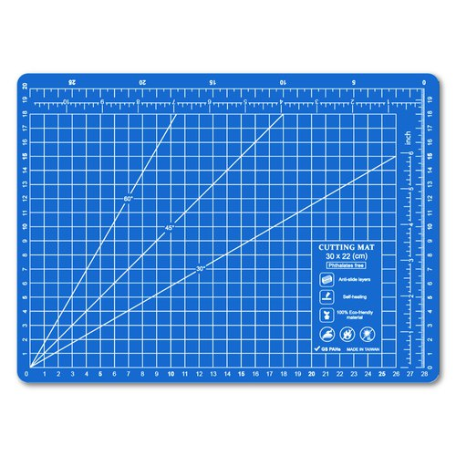Lightweight odorless cutting pad (A4) blue cyan translucent / art professional use