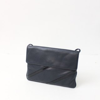 Retro 80s European Simple Dark Blue Side Back Out Antique Bag European Vintage Bag