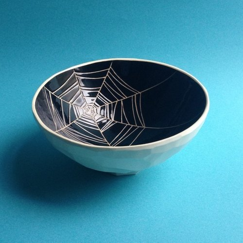 Bowl / bowl (spider web) black bowl (spider) black