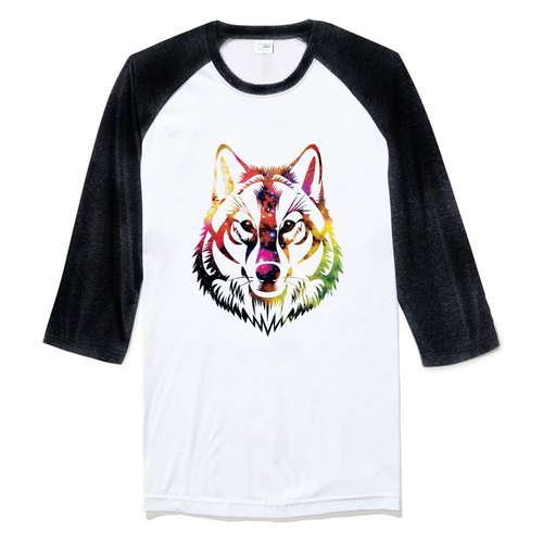 COSMIC WOLF Sleeve T-shirt white black wolf universe design own brand Milky Way trendy round triangle