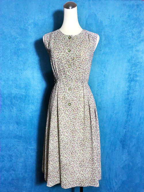Pink green flowers Sleeveless vintage dress / Foreign brought back VINTAGE