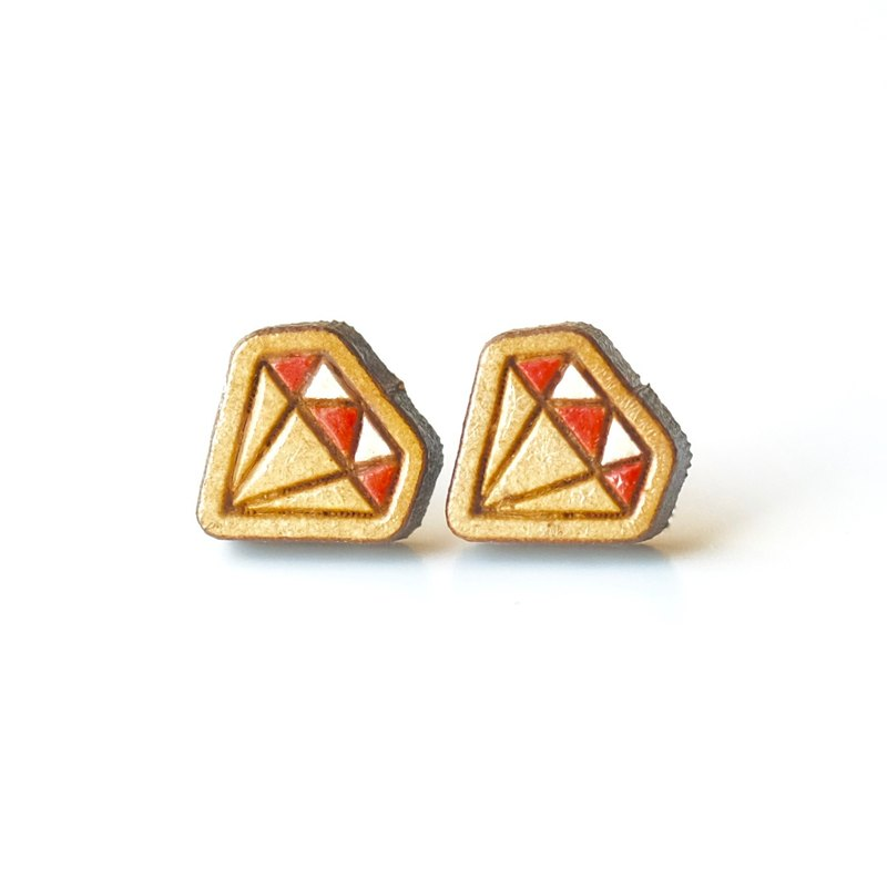 Painted wood earrings-Diamond