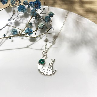 / Moon Rabbit / silver necklace - handmade gift silverclay