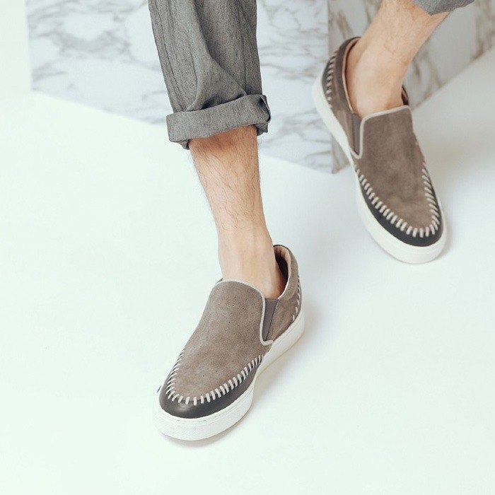 Comfortable brown tone three-dimensional woven pattern thick-soled leather casual shoes men