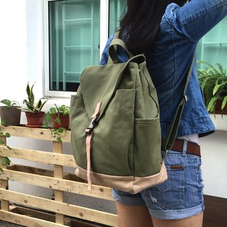Leather strap laptop backpack / canvas school backpack, -no.108 Smoke Green
