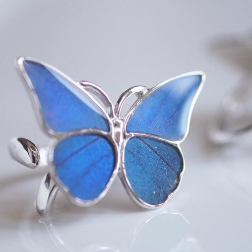 Morpho Butterfly Silver Ring