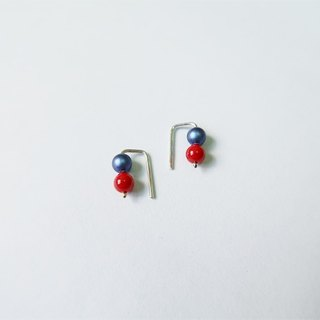 Round beads・Earrings Red blue Taiwan Sterling Silver【SZE1799】