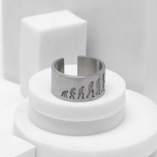 Human Evolution Ring (Fog Silver)