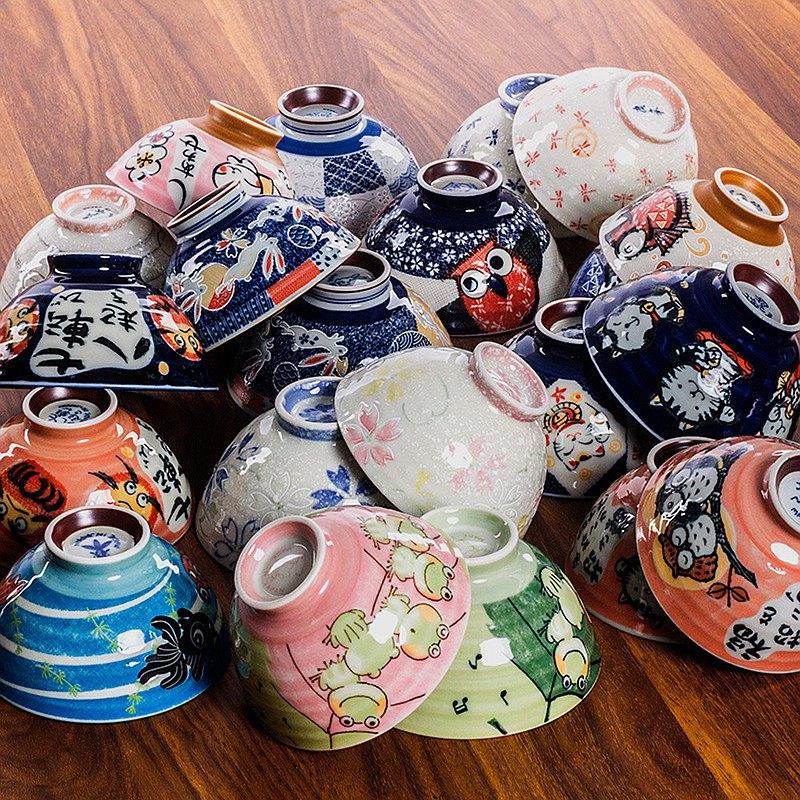 日本進口美濃燒家用米飯碗招福動物小碗招財貓達摩陶瓷碗日式餐具
