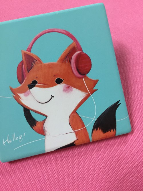 Mr. Fox listens to music - square ceramic water coaster