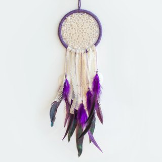 Dream Catcher 14cm - Purple Forest - Dream Lace Cloth + Shell Wind Chimes - Wedding Small Things