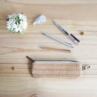 Pencil Cases Hand Woven and Botanical Dyed Cotton Natural-Tan Color