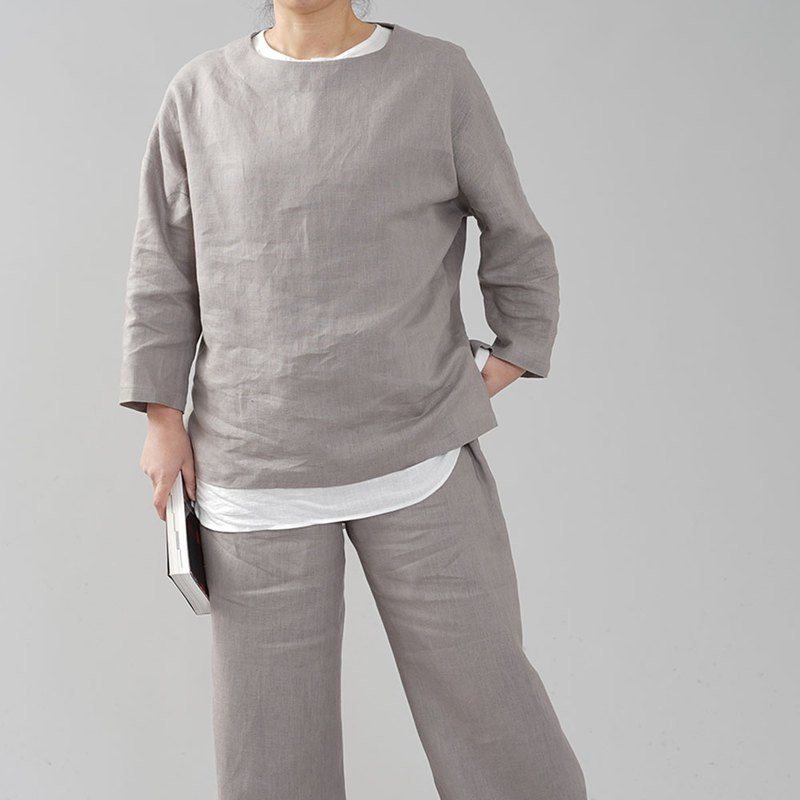 wafu - 純亞麻上衣 Midweight Linen Long Sleeve Crew Neck Top / Ash Pearl t002b-asp2