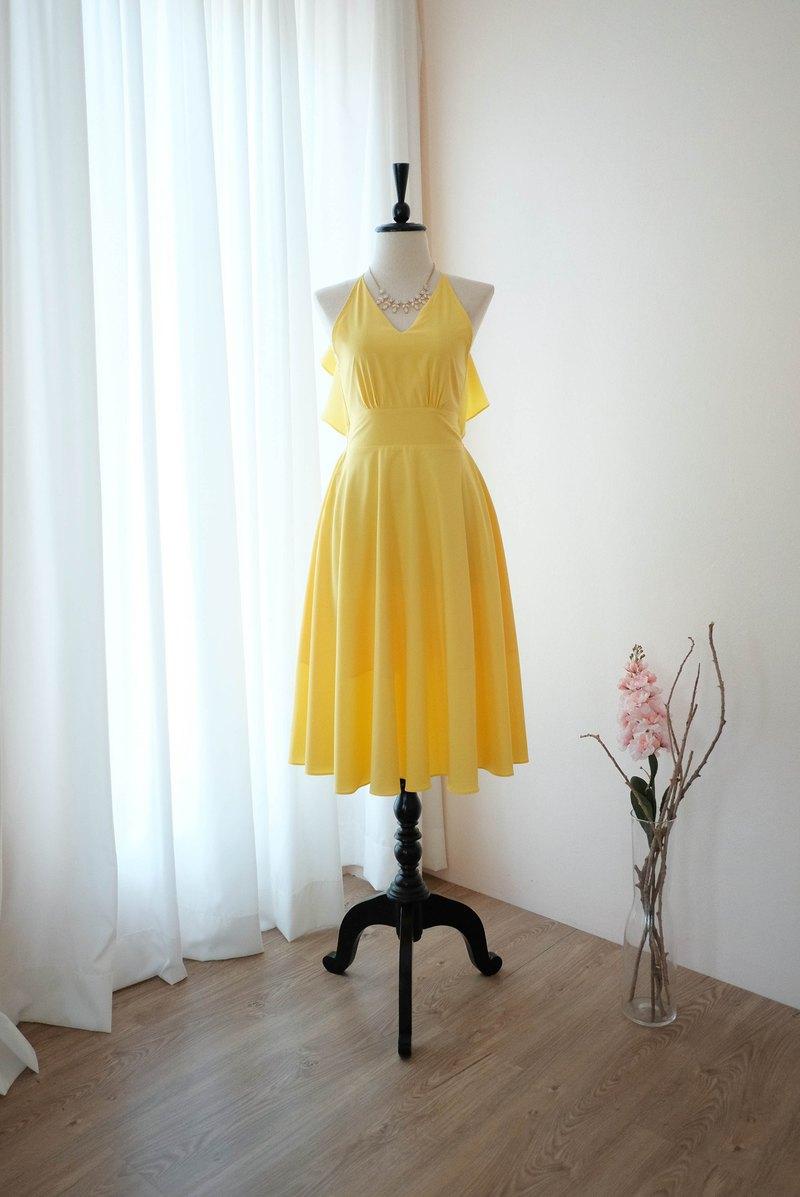 檸檬黃色連衣裙女式伴娘露背雞尾酒會禮服