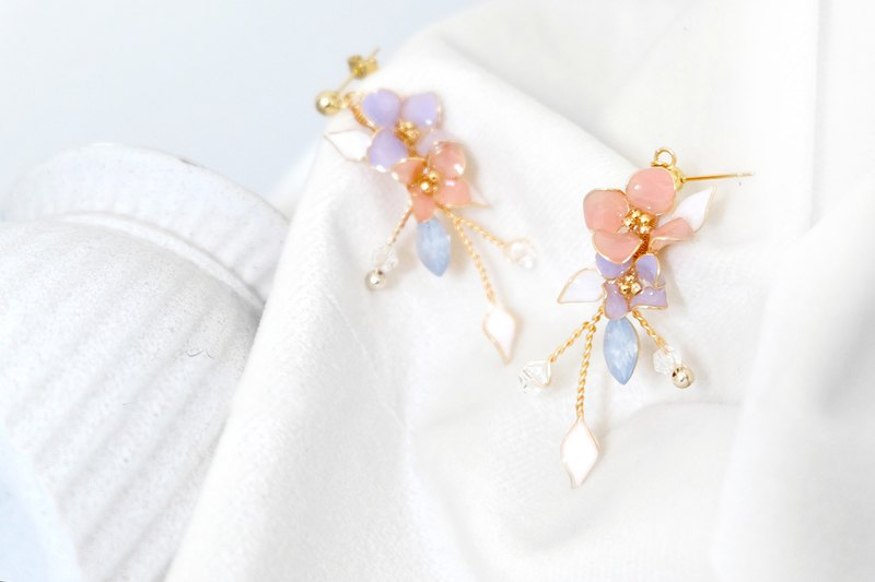 Crystal Flower Wangyou Forest Earrings | Pink Purple-Dot Jewelry
