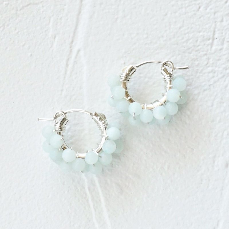 SV925SF*Frost Amazonite wrapped pierced earring / earring