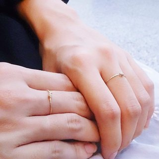 :: Classic Hand Line Series:: Basic Style (1 Gold + 1 Silver) Single Knot String Silver 14KGF Ring Set