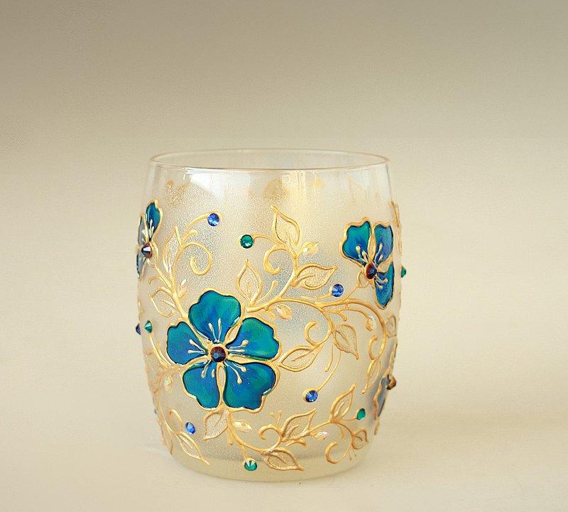 無玻璃杯,燭台,金藍色野花設計,手繪