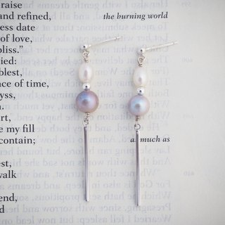 [Rachelle L. Geometric Series] Rectangular Freshwater Pearl Sterling Silver Earrings Ear Clips