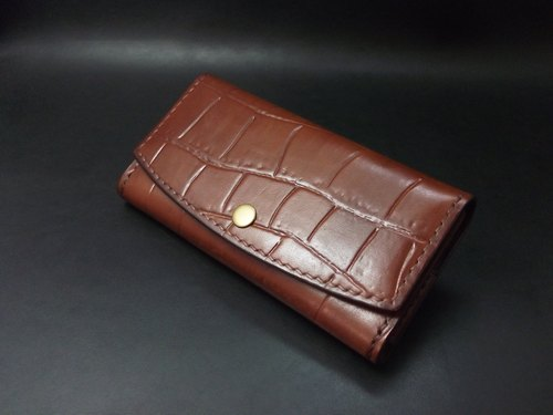 APEE leather handmade ~ horizontal mobile phone holster ~ Crocodile belly black brown