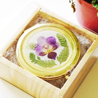 You Have My Butterfly - Pressed Flower Hand Mirror (Moth Orchid)