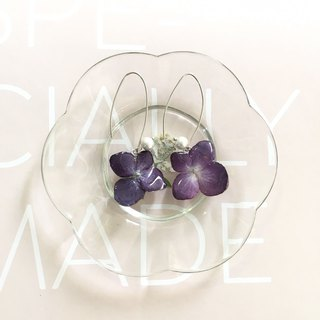 Purple hydrangea flower hydrangea three-dimensional real flower earrings Valentine's Day put flash necessary