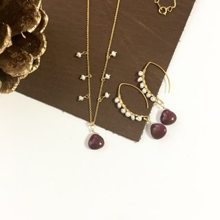 Alunite and Pearl Hook-earring, Necklace Set up 14 kgf