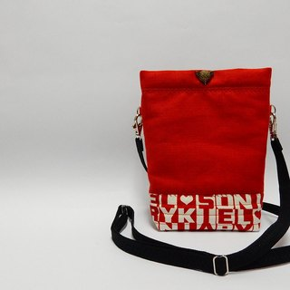 Lined with resin cotton red little oblique backpack