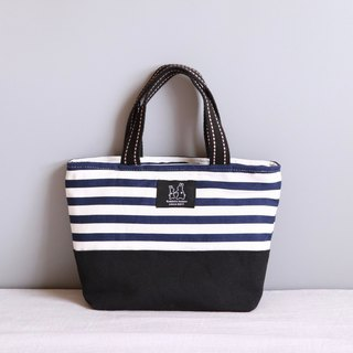 Striped blue printed lightweight handbag