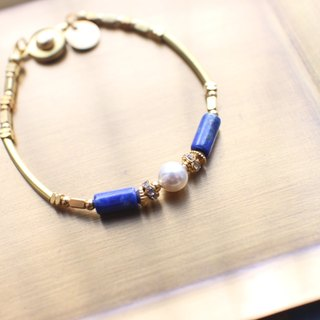 The Blue-Lapis pearl brass bracelet