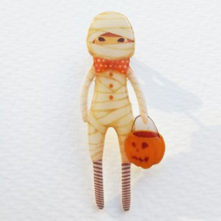 Small Q Series Handmade Products - Halloween Mummy Original Illustration Halloween Mummy Pumpkin Light / Pin Brooch Gift