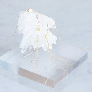 【Minimalism】 14 KGF Gem Dice Earrings / Necklace - Goldx Gold -