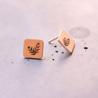 Ear studs with plants, sterling silver square post earrings