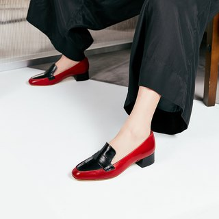 H THREE Round Head 3.4 Loafers / Chili Red / Heel Shoes / Leather Shoes