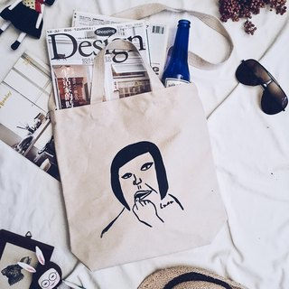 Hand-printed silk canvas bag - biting nails