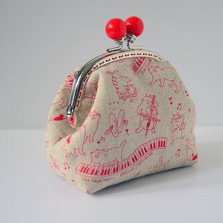 Cosmetic Frame Purse - music kitty - Portable and multiple purposes - Japanese fabric