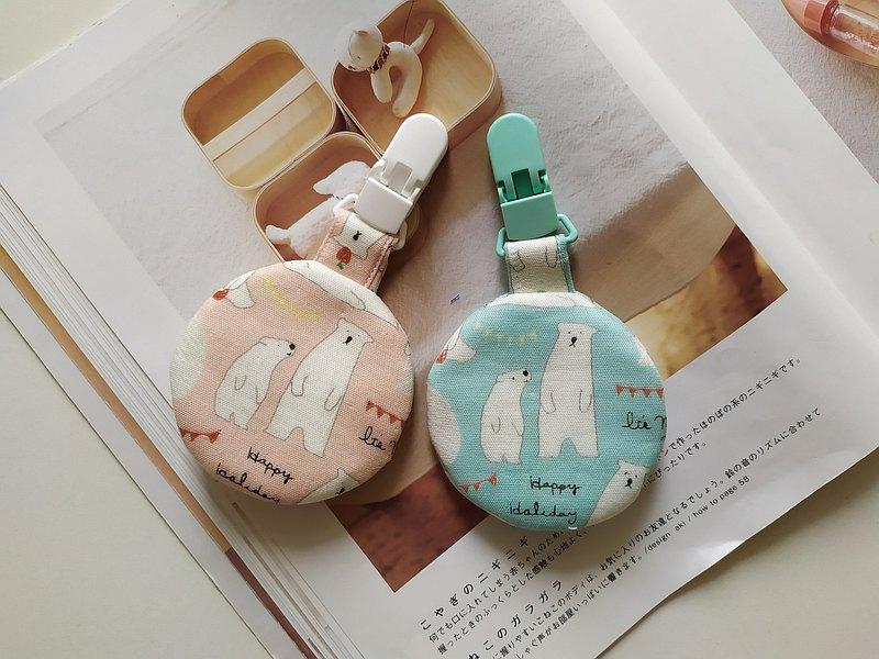 北極熊父子 圓型平安符袋 彌月禮物 平安符袋 香火袋