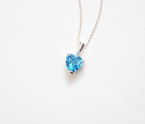 Heart-shaped Swiss Blue Topaz Pendant Necklace Hand Made Silver Silver925 Topaz Swiss Blue