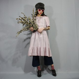 (Free shipping) (Vintage dress) pink flower Japanese vintage dress (wedding/birthday gift) F3213