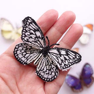Embroidery Butterfly Brooch Clip Ring / Paper Kite Butterfly (Small)